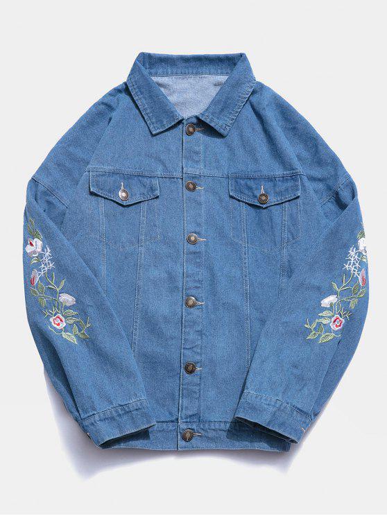 Veste Fleur Brodée en Denim - Bleu XL