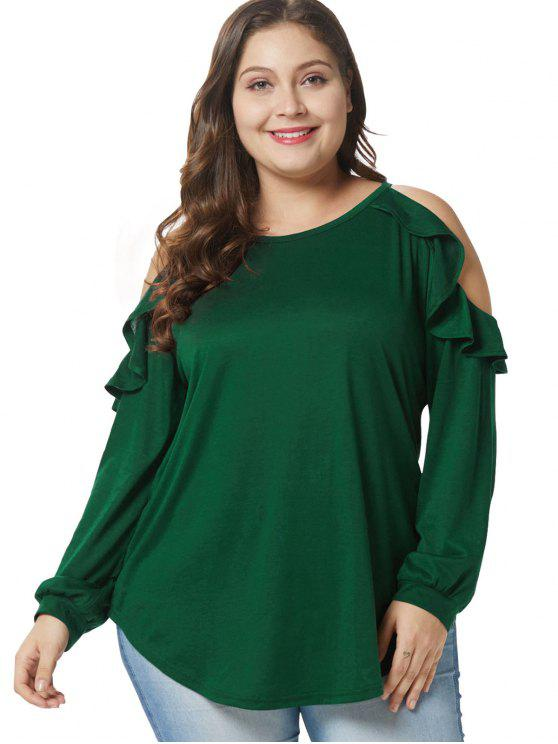 T-shirt Tunique de Grande Taille à Epaule Dénudée à Volants - Vert Foncé 3X