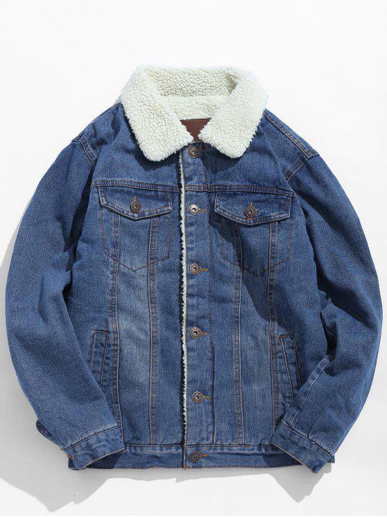 women's Fluffy Lined Thick Denim Jacket - LIGHT BLUE S