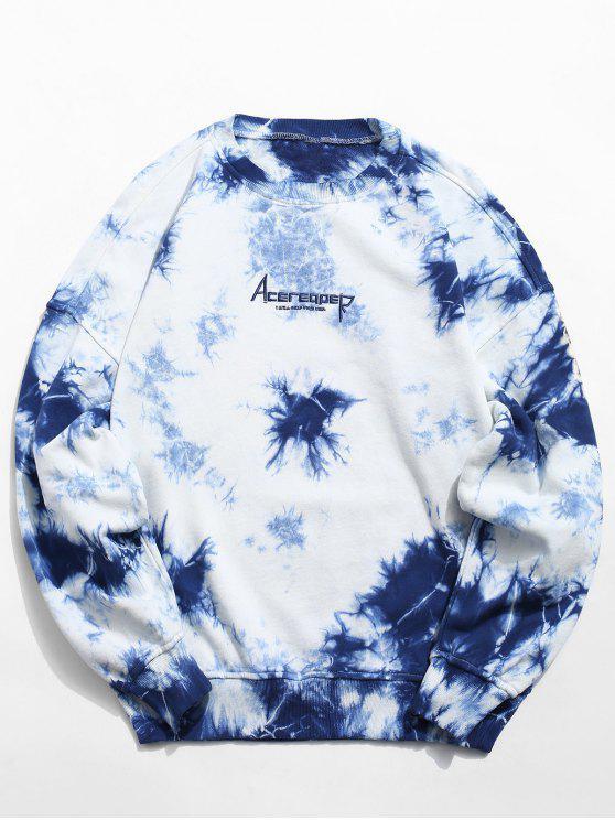Cópia da letra da tintura do laço da flor suéter - Azul cobalto L