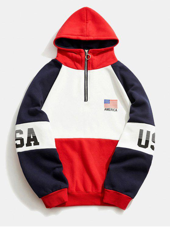 b62dbbdd4 29% OFF] 2019 Colorblock USA Graphic Fleece Hoodie In RED | ZAFUL