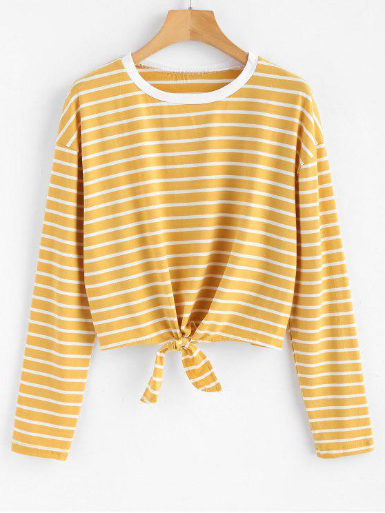 T-Shirt Annodata A Righe - Fiore Giallo M
