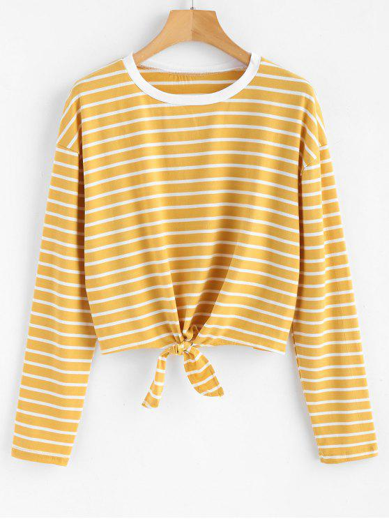 trendy Tie Striped T-shirt - GOLDENROD S