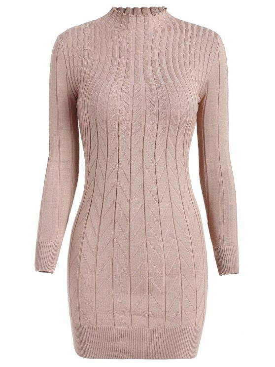 shop Cable Knit Longline Funnel Sweater - APRICOT ONE SIZE