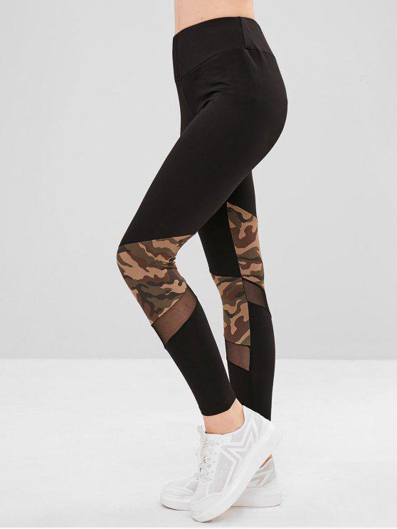 Legging Moulant Camouflage Panneau en Maille - Noir L