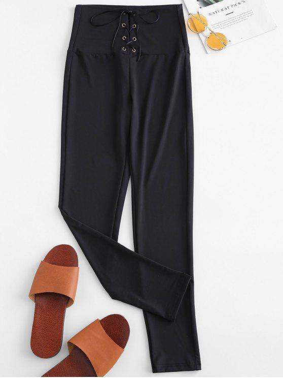Leggings mit hoher Taille zum Schnüren - Schwarz L