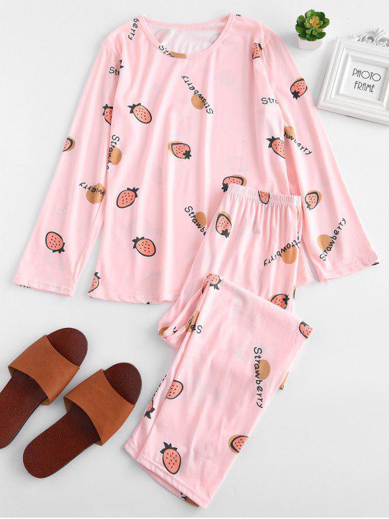 Conjunto de pijama de manga longa com estampa de morango - Rosa M