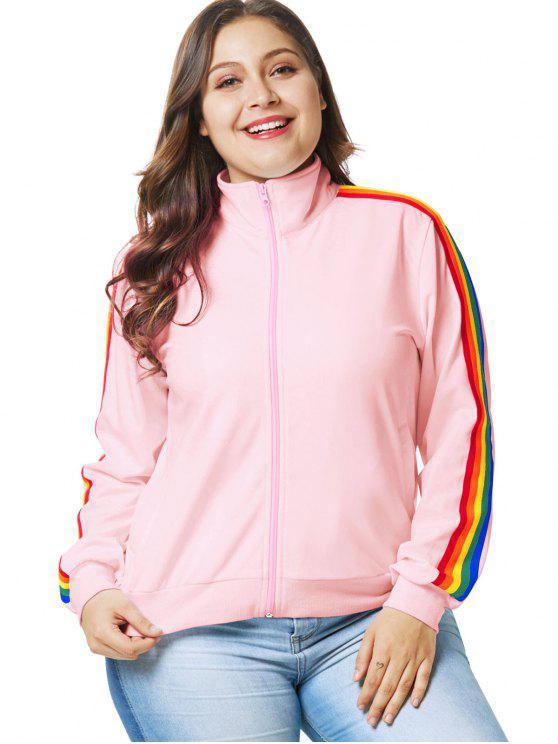 Giacca Plus Size Con Cerniera E Bordi Colorati - Rosa 1X
