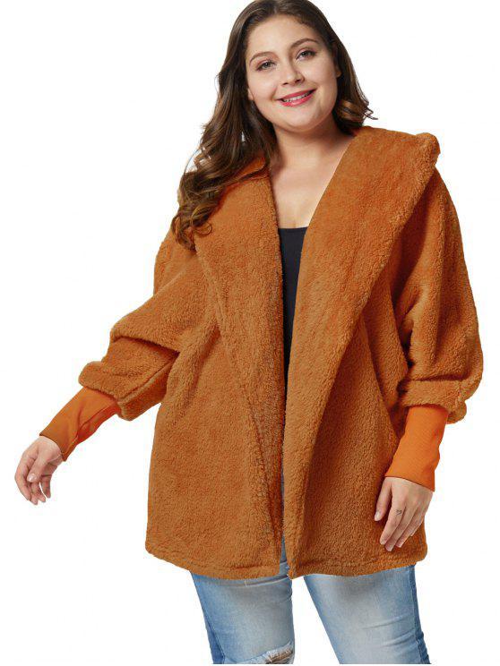 Casaco de túnica com capuz macio Plus Size - Marrom Claro 3X