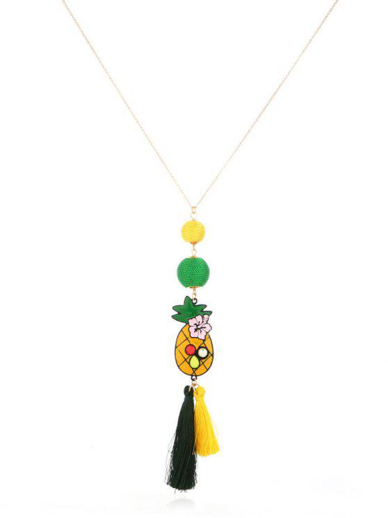 shop Pineapple Tassel Design Ball Necklace - GOLD