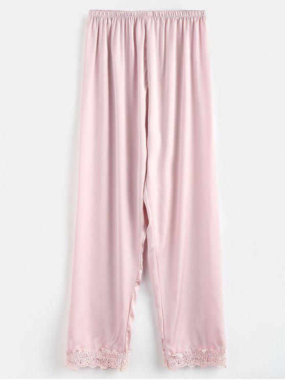 Pantaloni Da Notte In Raso Con Orlo All'uncinetto - Rosa M