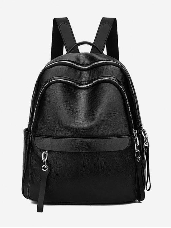 buy Layered Zipper Design PU Leather Backpack - BLACK