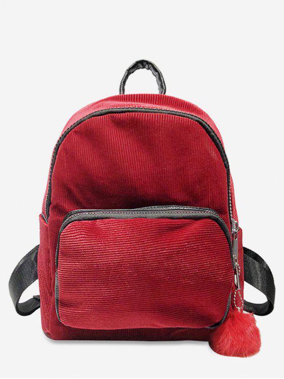 women Layered Zipper Corduroy Fluffy Ball Backpack - RED