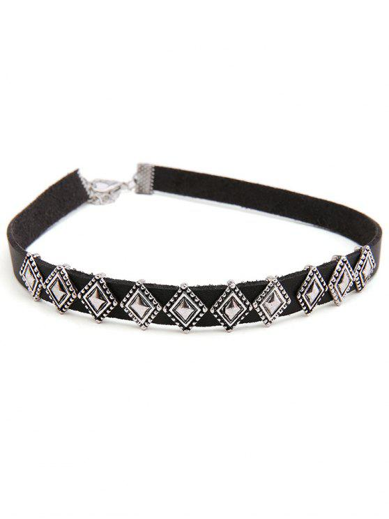 online Rhombus Design Alloy Choker Necklace - SILVER
