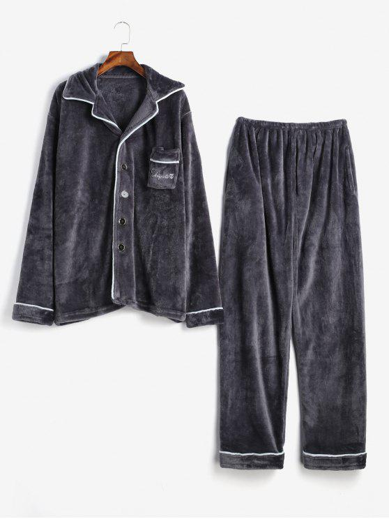 new Letter Embroidery Stripe Trim Flannel Fuzzy Pajamas Set - DARK GRAY S