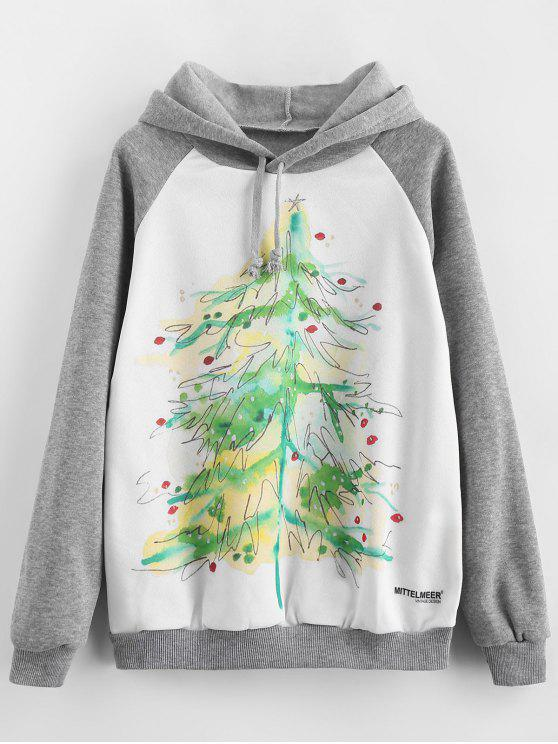 affordable Fleece Lined Christmas Tree Pullover Hoodie - MULTI L