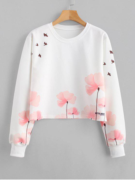 Sudadera estampada floral con estampado de pájaros - Blanco S