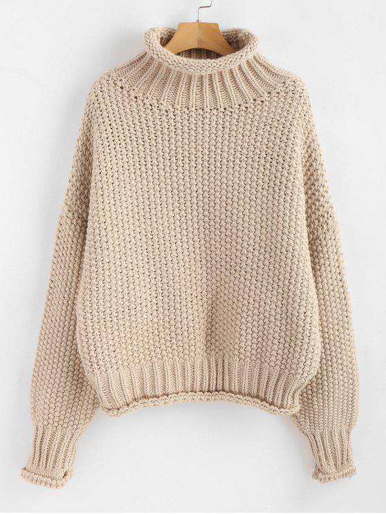 hot Rolled Hem Chunky Turtleneck Sweater - APRICOT ONE SIZE