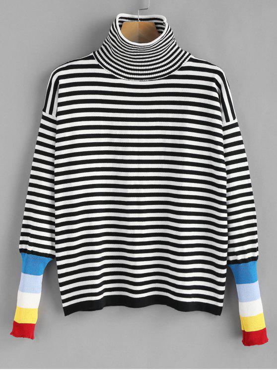 trendy Striped Turtleneck Knitwear - MULTI ONE SIZE