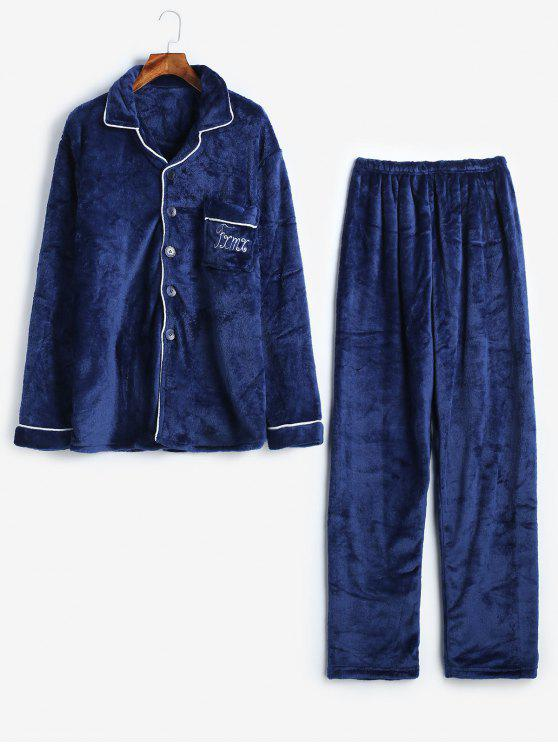 ladies Letter Buttons Flannel Fuzzy Pajamas Set - CADETBLUE XS