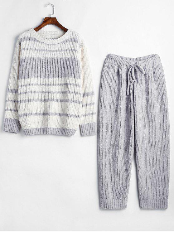 Ensemble de Pyjama en Tricot Rayé en Blocs de Couleurs - Gris Taille Unique