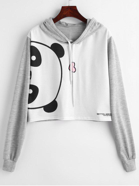 outfit Cropped Panda Graphic Hoodie - MULTI S