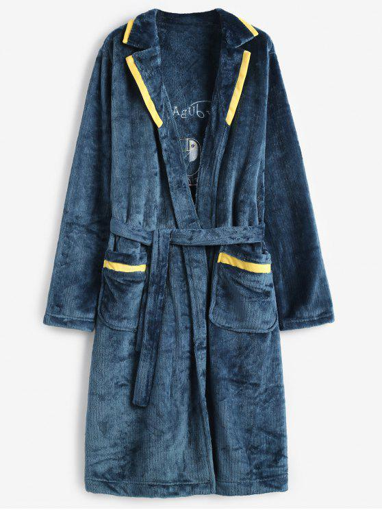 hot Graphic Embroidery Flannel Fuzzy Belted Robe - PEACOCK BLUE XL