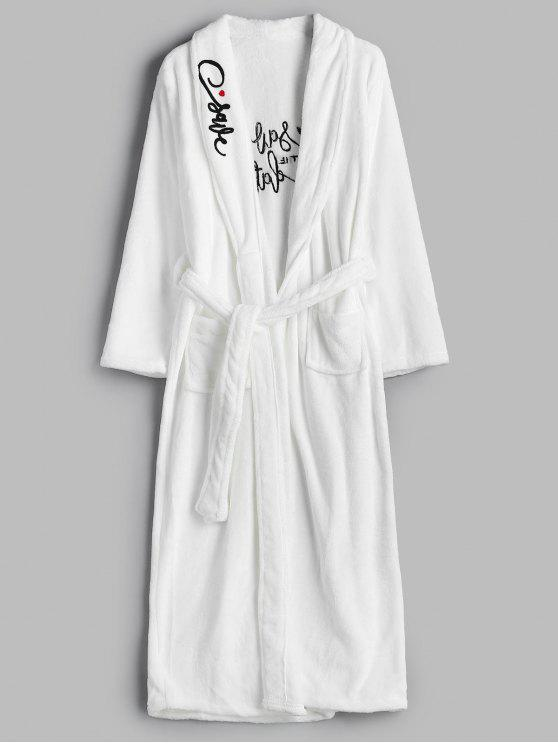 trendy Embroidery Flannel Robe - WHITE M