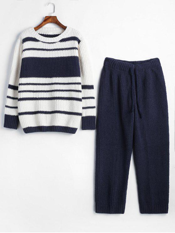 Gestrickter Pyjama-Set mit Streifenmuster - Blau Eine Größe