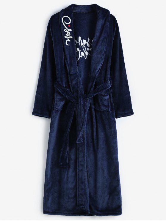 women Embroidery Flannel Robe - BLUE XL