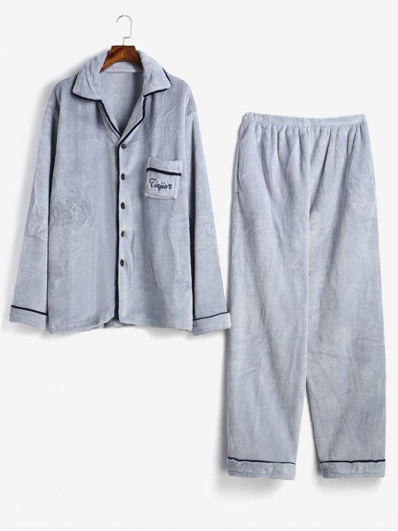 womens Letter Embroidery Stripe Trim Flannel Fuzzy Pajamas Set - LIGHT GRAY XS