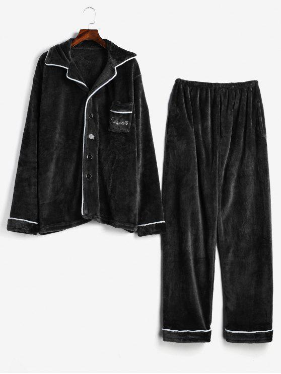 shops Letter Embroidery Stripe Trim Flannel Fuzzy Pajamas Set - BLACK XS