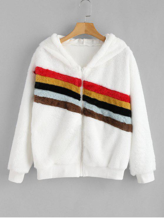 buy Color Block Fluffy Zip Up Hoodie - WHITE M