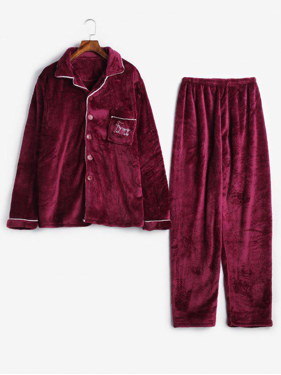 women Letter Buttons Flannel Fuzzy Pajamas Set - RED WINE M