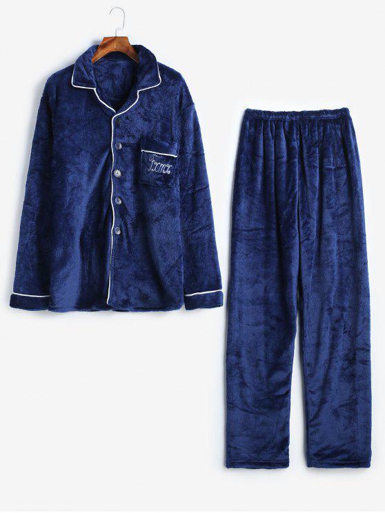 Brief Tasten Flanell Fuzzy Pyjamas Set - Kadettenblau M