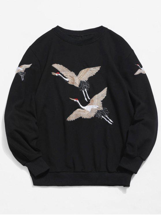 womens Embroidery Crane Pullover Sweatshirt - BLACK S