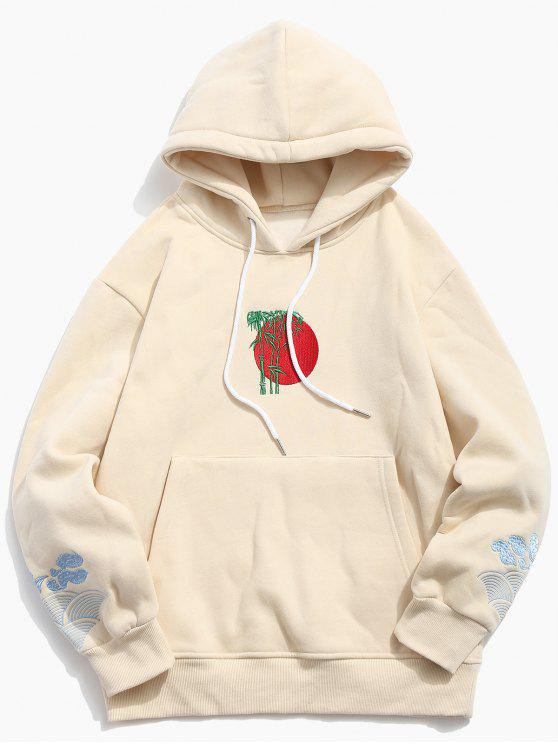 online Clouds Embroidery Casual Pullover Hoodie - APRICOT XL