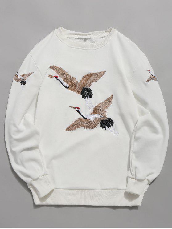 Embroidery Crane Pullover Sweatshirt   White M by Zaful