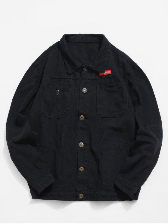 buy Multi Pockets Denim Jacket - BLACK L