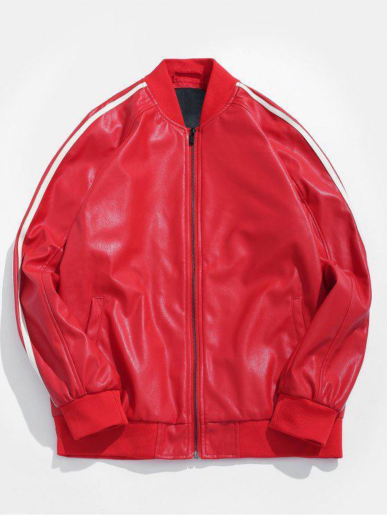 fancy Side Stripe PU Leather Bomber Jacket - LAVA RED M