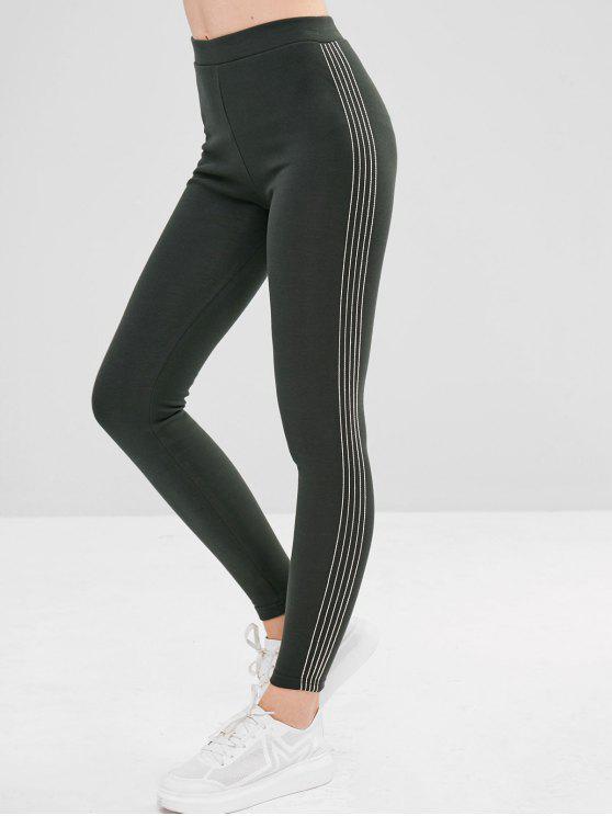 Stripe Trim Fleece Forrado Leggings Elastic - Verde Médio do Mar Tamanho único