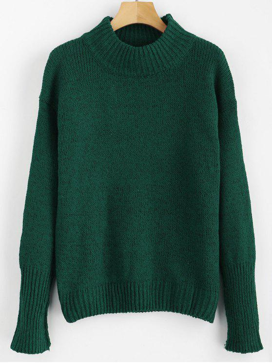 online Mixed Yarn Sweater - DARK FOREST GREEN ONE SIZE