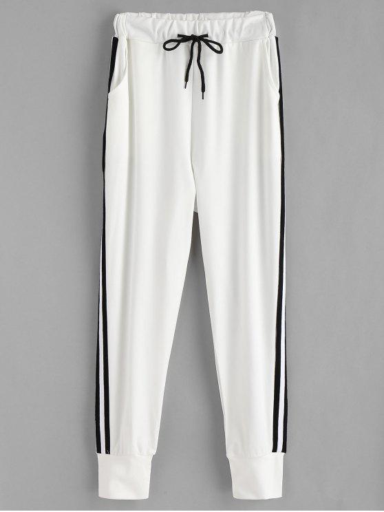 online Side Stripe Patch Jogger Pants - WHITE L