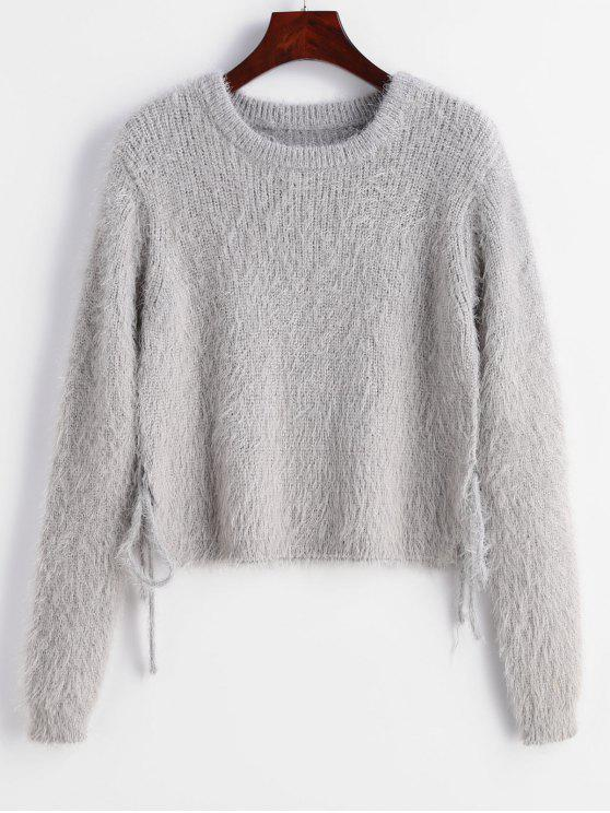 buy ZAFUL Knotted Textured Slit Sweater - GRAY CLOUD M