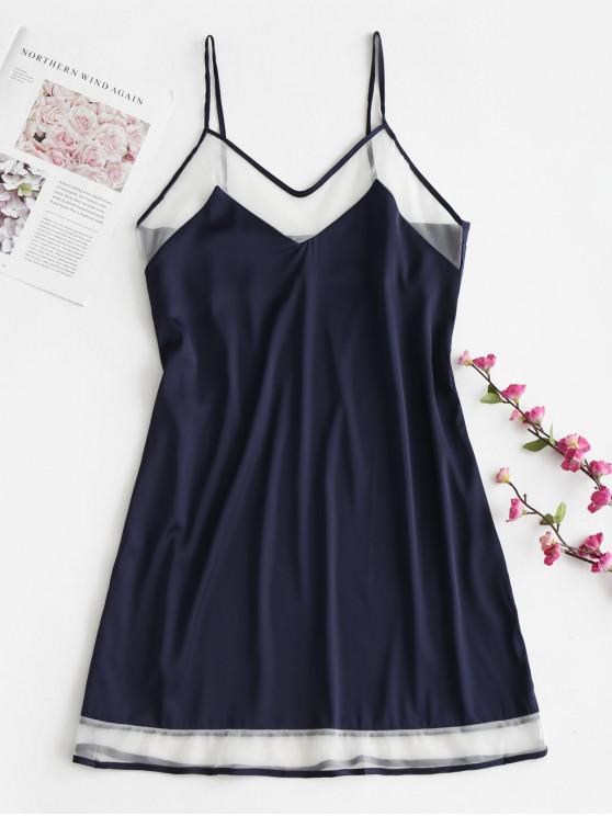 ladies Satin Mesh Panel Cami Pajama Dress - DEEP BLUE XL