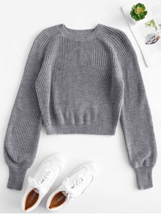 best Raglan Sleeves Crop Sweater - GRAY M
