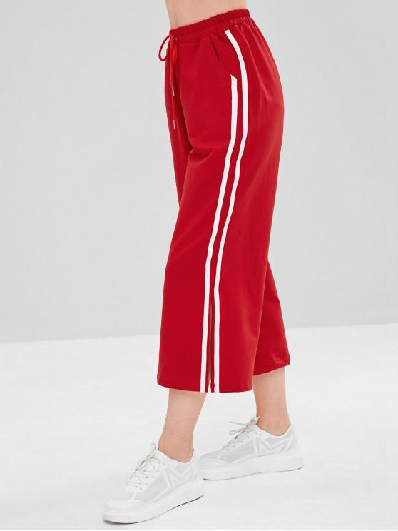 ladies ZAFUL Stripes Slit Wide Leg Pants - LAVA RED M