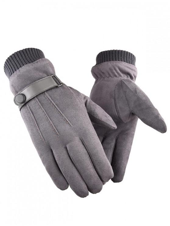 outfits Outdoor Full Finger Suede Gloves - GRAY