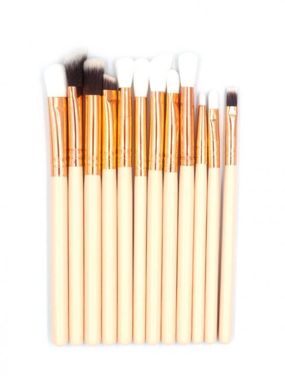 12 Pcs Soft Hair Cosmetic Eyeshadow Blending Makeup Brush Set - بلانشيد اللوز