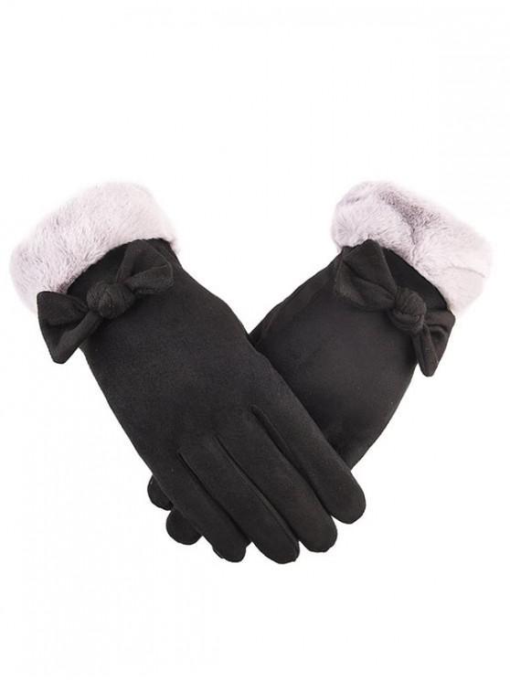 trendy Bowknot Full Finger Suede Gloves - BLACK